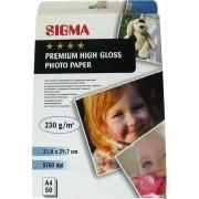 Высокоглянцевая фотобумага SIGMA Premium, 230г/м2, А4, 50л.
