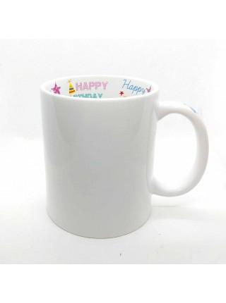 """Кружка белая керамическая """"Happy Birthday"""" для сублимации (300мл.)"""