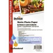 Фотобумага Detech матовая 260 гр./м кв. Формат 10x15. 50 листов пачка.